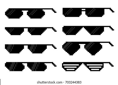 Glasses in pixel art style.