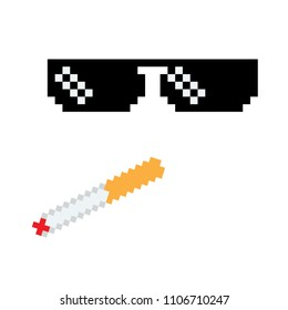 Glasses pixel vector icon Pixel Art boss or gangster Glasses of Thug Life Meme and smoke.