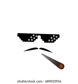 glasses pixel vector icon. Pixel Art Glasses of Thug Life Meme and smoke - Isolated on White Background Vector 8 bit. Mustache symbol. moustache.