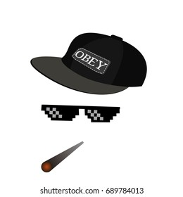 glasses pixel vector icon. Pixel Art Glasses of Thug Life Meme and smoke with cap - Isolated on White Background Vector 8 bit
