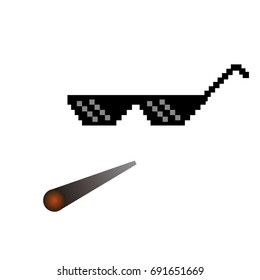 glasses pixel vector icon Pixel Art Glasses of Thug Life Meme and smoke - Isolated on White Background Vector 8 bit