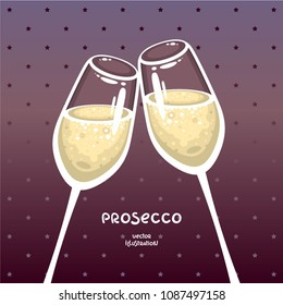Glasses of prosecco. Champagne vector illustration. Template for bar logo, invitation, party decoration.