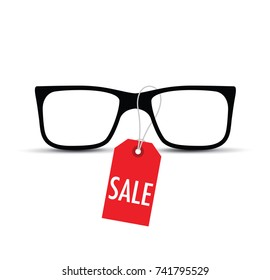 glasses with a sale tag