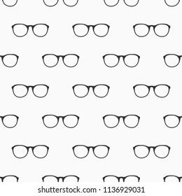 Glasses seamless pattern. Retro style. Cartoon flat style.Vector monochrome illustration.