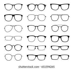 Glasses for sight with a transparent glass in a black frame. Protection from sun and ultraviolet rays. Fashion accessory.