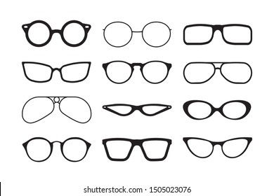 Glasses silhouette. Fashioned stylish accessories protecting summer sunlight aviation lens of reflective glasses vector collection