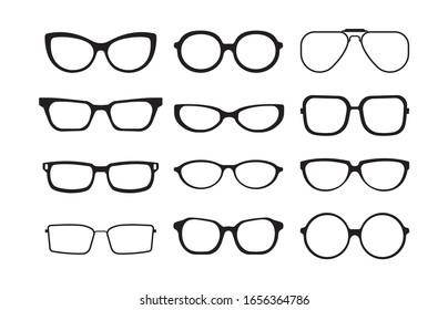 glasses silhouette. plastic fashion cool models of different stylish glasses frames. vector monochrome symbols set
