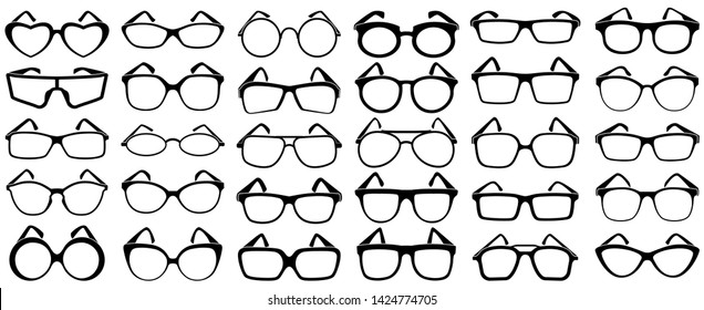 Glasses silhouette. Rim sunglasses, spectacle frame and eyewear silhouettes. Woman and man glasses, hipster or geek spectacles optical fashion. Vector isolated icons set