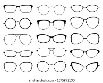 Glasses silhouette. Stylish frame sunglasses, eyeglasses optical eyesight different shapes, frames and fashion rims vector rounded optic lens set