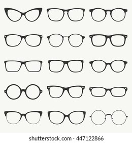 Glasses silhouette vector set. Collection of different of rim glasses types - round, square, cat eye glasses. Different style - hipster, retro, vintage, modern, classic.