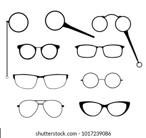 Glasses silhouette vector set. Frames to modern sunglasses with different styles as well as vintage eyeglasses - lorgnette, monocle and a magnifying glass.