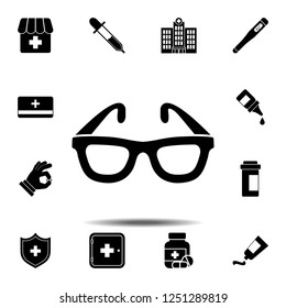 The glasses, spectacles, eyeglasses, glass, spectacle, specs icon. Simple glyph vector element of Medecine set icons for UI and UX, website or mobile application