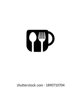 glasses and spoons for restaurant icons or symbols, food menu logos, cafe logos and other eating places