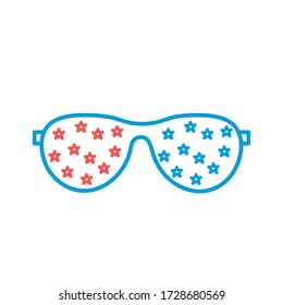Glasses with stars line and fill style icon design, Fashion style accessory and eye theme Vector illustration