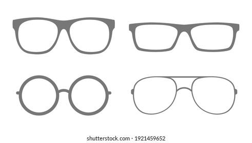 glasses sunglasses icon set design isolated on white