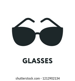 Glasses and Sunglasses Model. Optical Spectacles Fashion Lens. Vector Flat Line Icon.