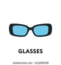 Glasses and Sunglasses Model. Optical Spectacles Fashion Lens. Color Vector Flat Line Icon.