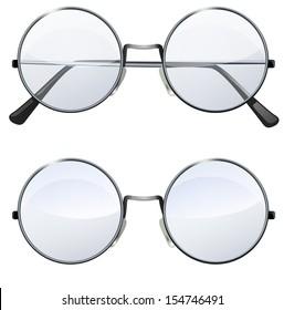 Glasses with transparent white round lenses isolated on white background, illustration