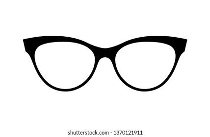 Glasses vector. Accessory art black collection cool flat design. Vector illustration of elegant spectacles in black frame white background.