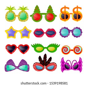 Glasses vector cartoon eyeglasses sunglasses in heart star funny shape for party and accessories for hipsters fashion optical spectacles eyesight view set illustration, isolated on white background.
