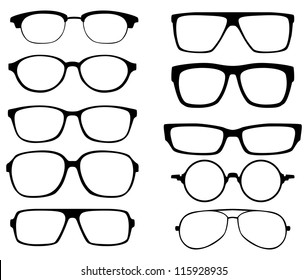 glasses vector set. Retro, wayfarer, aviator frames