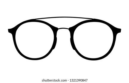 Glasses vector silhouette illustration on white background. Sunglasses, eyeglasses symbol. Protect kit for eyes.