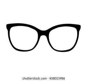 Glasses vector silhouette illustration on white background. Sunglasses, eyeglasses.