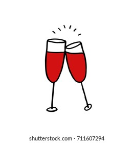 glasses of wine doodle icon