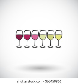 Glasses of wine sketch. Hand-drawn cartoon wine icon - red, white, rose. Doodle drawing. Vector illustration.