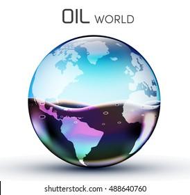glasses world oil background concept. vector illustration design template