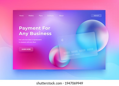 Glassmorphism concept. Glass effect banking card. Credit card landing page on blurred gradient vector background. Banking web design with trendy vibrant fluid colors