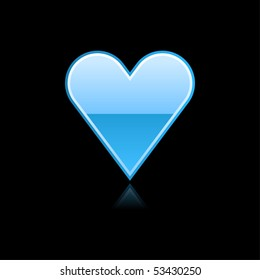 Glassy blue heart symbol web button with reflection. Black background