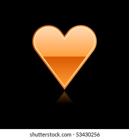 Glassy orange heart symbol web button with reflection. Black background