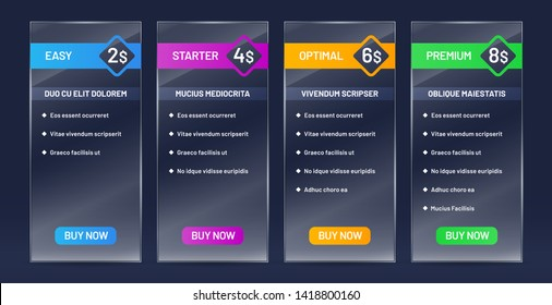 Glassy tariff plans comparison. Tariffs price list, buy banners and website pricing chart transparent glass vector set