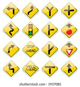 Glassy US road sign icons - vector