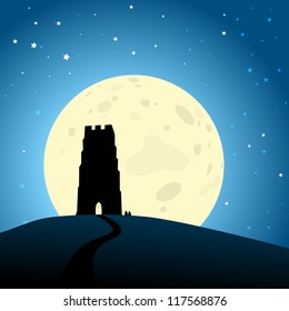 Glastonbury Moonrise, EPS10 Vector