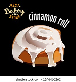 Glazed cinnamon roll isolated on black background vector illustration.