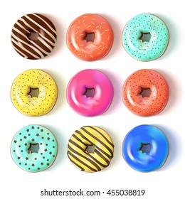 Glazed colored donuts set 3D. Vector Illustration