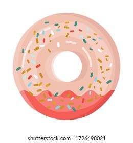 Glazed donut with cream isolated on a white background. Cute, colorful and glossy donuts with pink icing and multi-colored powder. For the design of recipes, menus, culinary blogs, stationery.