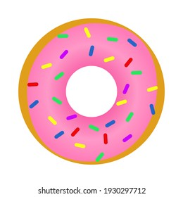 Glazed donut with pink cream and colored sprinkles isolated on a white background. Cute, colorful and glossy donuts with pink icing and multi-colored powder. For recipes, menus and culinary blogs.