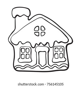 Christmas Gingerbread House Drawing.Gingerbread House Sketch Images Stock Photos Vectors