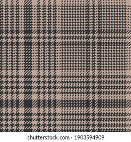 Glen check plaid pattern in brown and beige. Autumn winter spring seamless abstract tartan background graphic for skirt, jacket, dress, blanket, or other modern fashion textile print. Dark color.