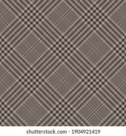 Glen check plaid pattern in dark brown and beige. Autumn winter spring seamless abstract houndstooth plaid graphic background for jacket, coat, skirt, or other modern fashion textile print.
