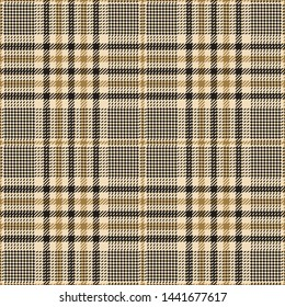 Glen check plaid pattern. Seamless tartan plaid in dark grey and gold for jacket, coat, skirt, trousers, or other modern fashion tweed textile print.