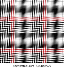 Glen check plaid pattern. Seamless black white red houndstooth check plaid for jacket, coat, skirt, trousers, dress, or other modern autumn and winter tweed fabric design.