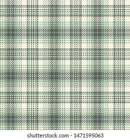 Glen check plaid pattern vector background. Seamless abstract hounds tooth plaid in soft green, grey, and beige for jacket, coat, skirt, bag, or other modern textile design.