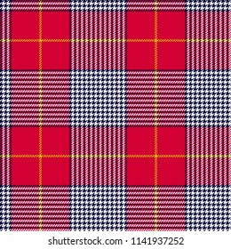 Glen or houndstooth plaid pattern. Check fabric seamless pattern in red, green, deep blue and white