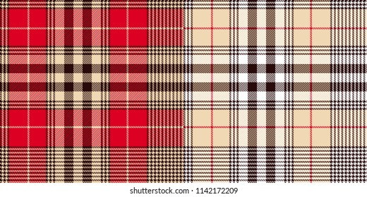 Glen or houndstooth plaid pattern. Check fabric seamless pattern. Black and white stipes on red/ beige. High quality precise seamless pattern
