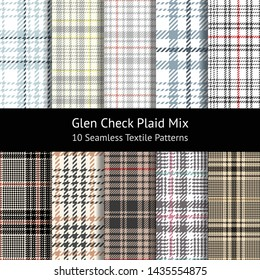 Glen pattern set. Seamless tartan check plaid for jacket, coat, skirt, dress, or other modern fashion textile print. Hounds tooth stripe texture. Swatches included.