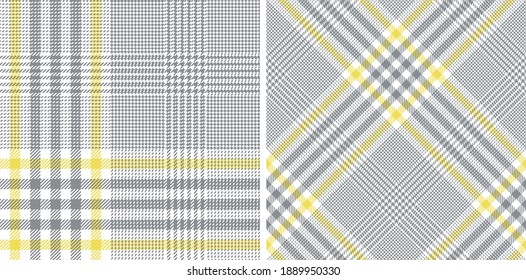 Glen pattern set in ultimate grey and illuminating yellow for dress, skirt, jacket, trousers, blanket, duvet cover, throw, or other modern spring summer fashion textile print.